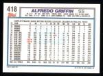 1992 Topps #418  Alfredo Griffin  Back Thumbnail