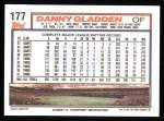 1992 Topps #177  Dan Gladden  Back Thumbnail