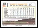 1992 Topps #278  Darryl Hamilton  Back Thumbnail