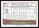 1992 Topps #484  Mike Hartley  Back Thumbnail