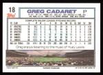 1992 Topps #18  Greg Cadaret  Back Thumbnail