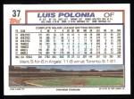 1992 Topps #37  Luis Polonia  Back Thumbnail