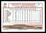 1992 Topps #48  Scott Scudder  Back Thumbnail