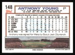 1992 Topps #148  Anthony Young  Back Thumbnail