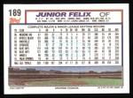 1992 Topps #189  Junior Felix  Back Thumbnail