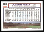 1992 Topps #189  Junior Felix  Back Thumbnail