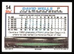 1992 Topps #54  David Wells  Back Thumbnail