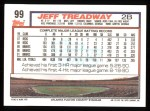 1992 Topps #99  Jeff Treadway  Back Thumbnail