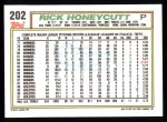 1992 Topps #202  Rick Honeycutt  Back Thumbnail