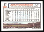 1992 Topps #27  Juan Gonzalez  Back Thumbnail