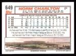 1992 Topps #649  Norm Charlton  Back Thumbnail