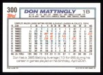 1992 Topps #300  Don Mattingly  Back Thumbnail