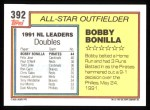 1992 Topps #392   -  Bobby Bonilla All-Star Back Thumbnail