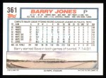 1992 Topps #361  Barry Jones  Back Thumbnail
