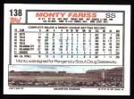 1992 Topps #138  Monty Fariss  Back Thumbnail