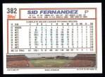 1992 Topps #382  Sid Fernandez  Back Thumbnail