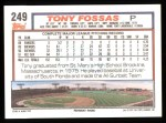1992 Topps #249  Tony Fossas  Back Thumbnail
