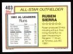 1992 Topps #403   -  Ruben Sierra All-Star Back Thumbnail