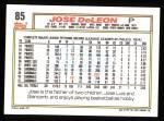 1992 Topps #85  Jose DeLeon  Back Thumbnail