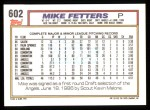 1992 Topps #602  Mike Fetters  Back Thumbnail