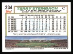 1992 Topps #234  Terry Steinbach  Back Thumbnail