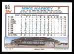 1992 Topps #98  Mike Harkey  Back Thumbnail