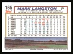 1992 Topps #165  Mark Langston  Back Thumbnail