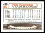 1992 Topps #448  Tom Pagnozzi  Back Thumbnail