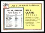 1992 Topps #386   -  Will Clark All-Star Back Thumbnail