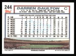1992 Topps #244  Darren Daulton  Back Thumbnail