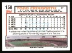 1992 Topps #158  Todd Frohwirth  Back Thumbnail