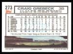1992 Topps #273  Craig Grebeck  Back Thumbnail