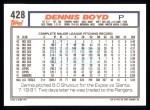 1992 Topps #428  Dennis Boyd  Back Thumbnail