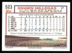1992 Topps #523  Shawn Hillegas  Back Thumbnail