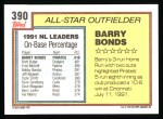 1992 Topps #390   -  Barry Bonds All-Star Back Thumbnail