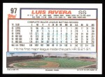1992 Topps #97  Luis Rivera  Back Thumbnail