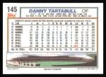 1992 Topps #145  Danny Tartabull  Back Thumbnail