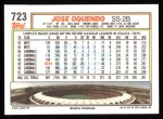 1992 Topps #723  Jose Oquendo  Back Thumbnail