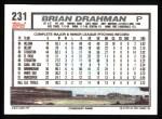 1992 Topps #231  Brian Drahman  Back Thumbnail