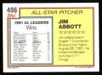 1992 Topps #406   -  Jim Abbott All-Star Back Thumbnail