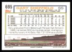 1992 Topps #695  Gary Sheffield  Back Thumbnail