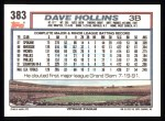 1992 Topps #383  Dave Hollins  Back Thumbnail