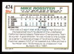 1992 Topps #474  Mike Rossiter  Back Thumbnail