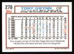 1992 Topps #270  Tony Gwynn  Back Thumbnail