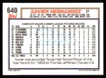 1992 Topps #640  Xavier Hernandez  Back Thumbnail