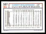 1992 Topps #507  Candy Maldonado  Back Thumbnail