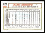 1992 Topps #421  Juan Agosto  Back Thumbnail