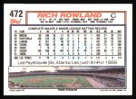 1992 Topps #472  Rich Rowland  Back Thumbnail