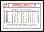 1992 Topps #644  Terry Leach  Back Thumbnail