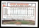1992 Topps #677  John Marzano  Back Thumbnail